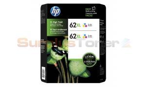 HP NO 62XL INK CARTRIDGE TRI-COLOR TWIN PACK (M0J01BN)