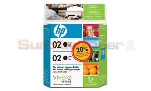 HP 02 INK CARTRIDGES BLACK HY 2 PACK (C9501FL)