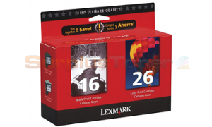 LEXMARK NO 16/26 PRINT CARTRIDGES BLACK/COLOR TWIN PACK (10N1069)