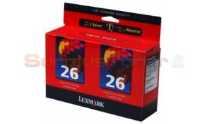 LEXMARK NO 26 PRINT CARTRIDGE COLOR TWIN PACK (10N0164)