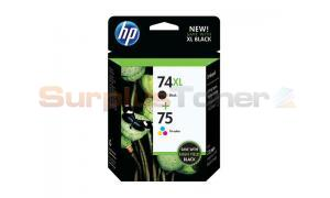 HP 74XL/75 INK CARTRIDGE BLACK/COLOR COMBO PACK (CZ139FN)