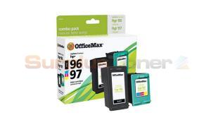 HP 96/97 INK CARTRIDGE BLACK/TRI-COLOR COMBO PACK OFFICEMAX (OM96536)