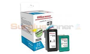 HP 96/97 INK BLACK/TRICOLOR COMBO PACK OFFICE DEPOT (OD9697)