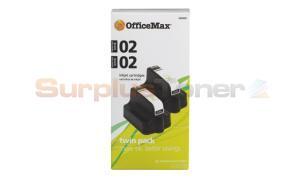 HP 02 INK CARTRIDGE BLACK TWIN-PACK OFFICEMAX (OM99907)