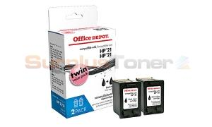 HP NO 21 INK CARTRIDGES BLACK TWIN-PACK OFFICE DEPOT (OD2212)