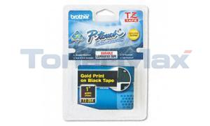 BROTHER TZ TAPE CTG GOLD ON BLACK 1IN WIDTH (TZ-354)