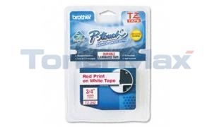 BROTHER P-TOUCH TAPE RED ON WHITE (3/4 X 26) (TZ-242)