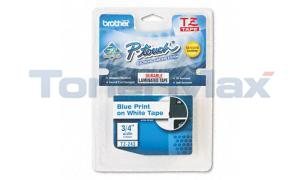 BROTHER TZ TAPE CTG BLUE ON WHITE 3/4IN WIDTH (TZ-243)