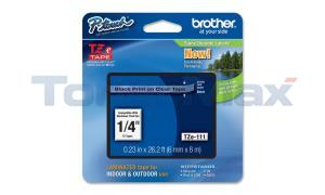 BROTHER TZ LAMINATED TAPE BLACK ON CLEAR 0.23IN X 26.2FT (TZE-111)