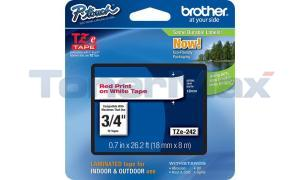 BROTHER TZ LAMINATED TAPE RED ON WHITE 0.7 IN X 26.2 FT (TZE-242)