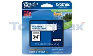 BROTHER TZ LAMINATED TAPE BLUE ON WHITE 0.7 IN X 26.2 FT (TZE-243)