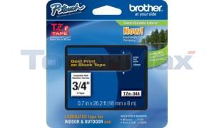BROTHER TZ LAMINATED TAPE GOLD ON BLACK 0.7 IN X 26.2 FT (TZE-344)