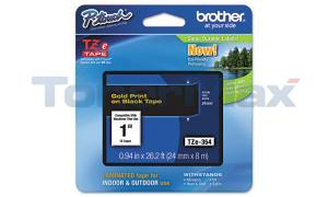 BROTHER TZ LAMINATED TAPE GOLD ON BLACK 0.94 IN X 26.2 FT (TZE-354)