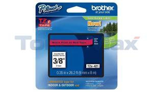 BROTHER TZ LAMINATED TAPE BLACK ON RED 0.35 IN X 26.2 FT (TZE-421)
