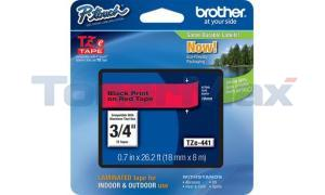 BROTHER TZ LAMINATED TAPE BLACK ON RED 0.7 IN X 26.2 FT (TZE-441)