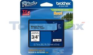BROTHER TZ LAMINATED TAPE BLACK ON BLUE 0.7 IN X 26.2 FT (TZE-541)