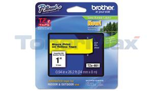 BROTHER TZ LAMINATED TAPE BLACK ON YELLOW 0.94 IN X 26.2 FT (TZE-651)