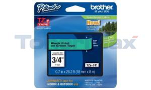 BROTHER TZ LAMINATED TAPE BLACK ON GREEN 0.7 IN X 26.2 FT (TZE-741)