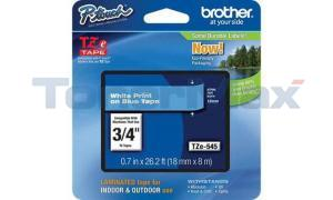 BROTHER TZ LAMINATED TAPE WHITE ON BLUE 18 MM X 8 M (TZE-545)