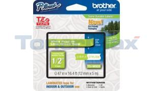 BROTHER TZ LAMINATED TAPE WHITE ON LIME GREEN 12 MM X 5 M (TZE-MQG35)